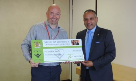 Fomer Cllr Avtar Sandhu MBE presents a £1,000 donation to North  West Kent College's Miskin Radio