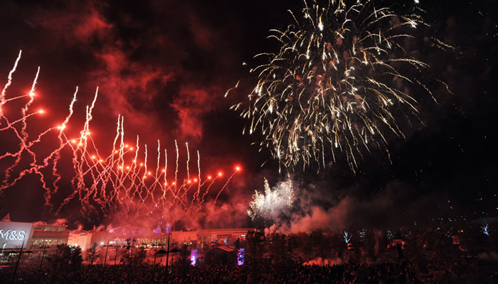 The night sky is illuminated above Bluewater with a stunning fireworks display to celebrate their annual Christmas Light Switch On and to