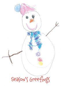 Skyla's 'Snowman' Christmas card