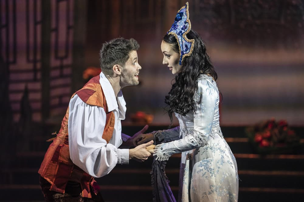 Alexis Gerred and Stephanie Elstob in Aladdin at The Orchard Theatre. Credit Luke Varley DL