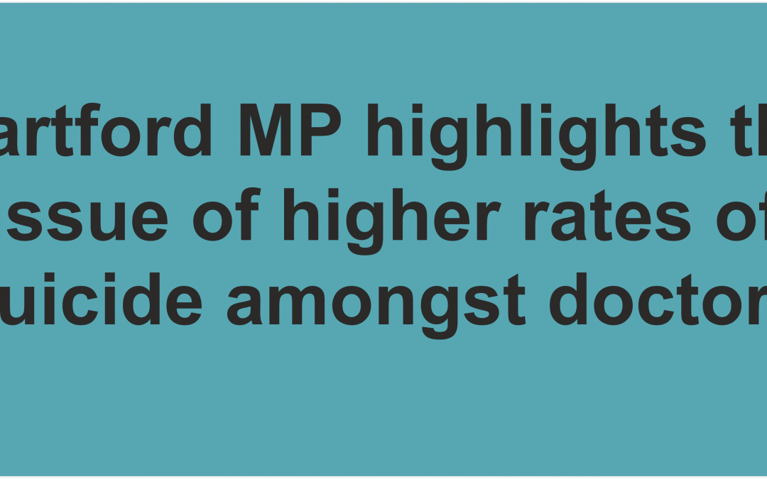 Dartford MP highlights the issue of higher rates of suicide amongst doctors during questions to the Prime Minister.